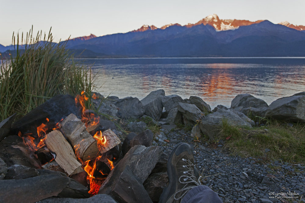 This is what camping at Seward is all about, a fire on the beach.