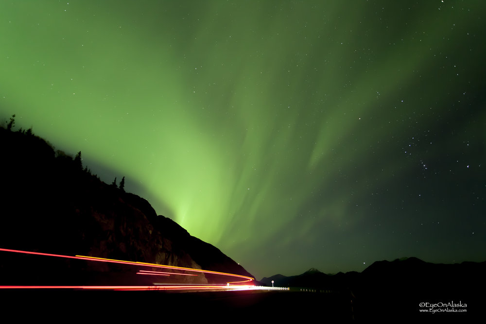 Beluga Point on Turnagain Arm heading south. Truck traffic at 4am.