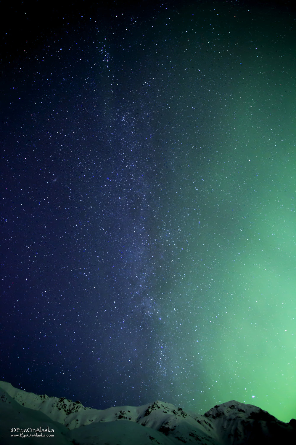 Up to the heavens.  I like vertical shots of the aurora to try and show the scale of what I'm looking at.  Still doesn't come close to actually seeing it in person.