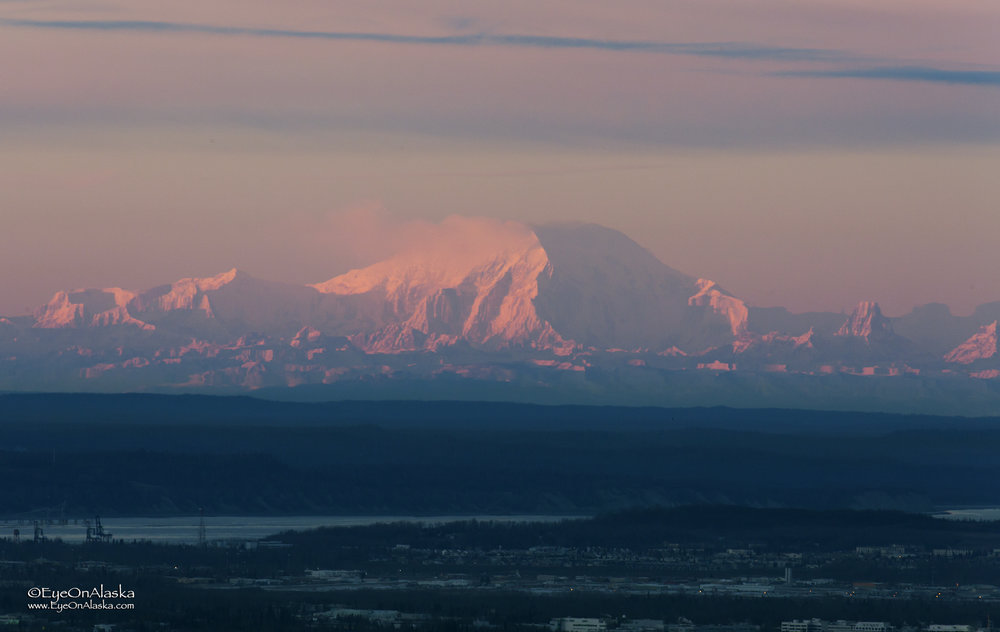 Mount Foraker on the horizon at sunset.