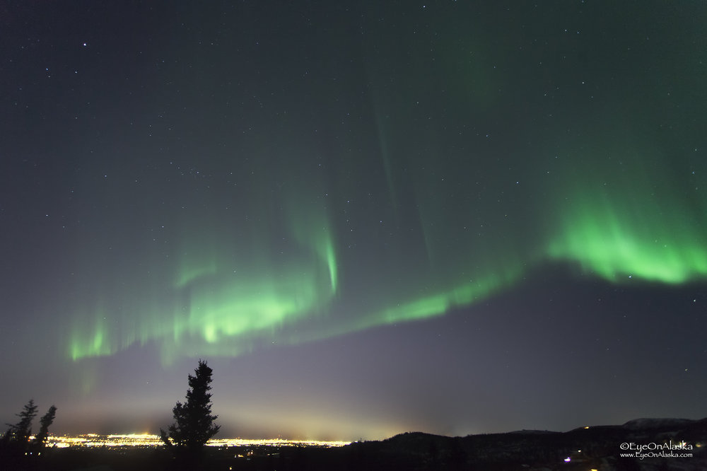 Aurora over Anchorage.  This is the view from our front deck.