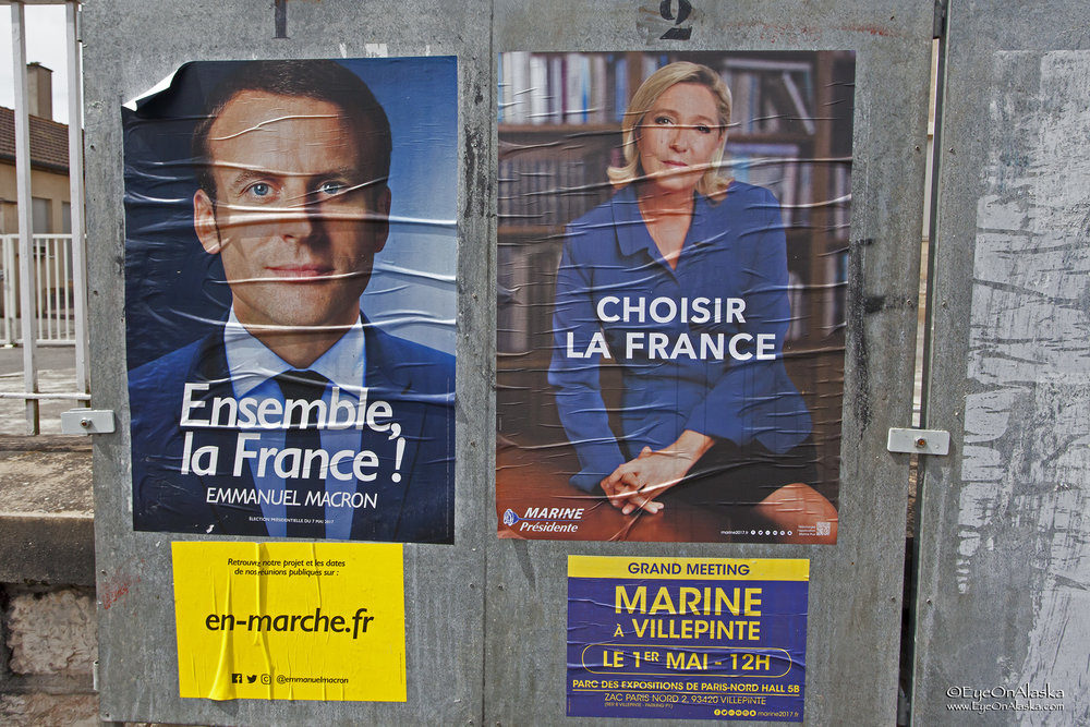 There are political signs everywhere in France. We'll be here for the final election.  Hopefully no riots.