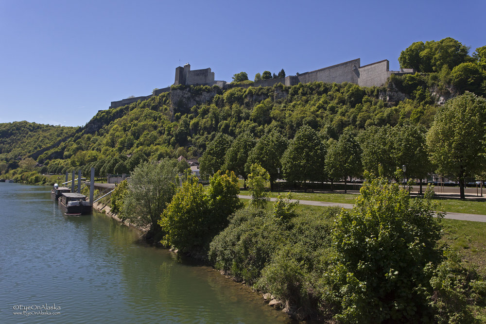 Au revoir, Besançon.  One last view of the Citadel as we make our way up river.