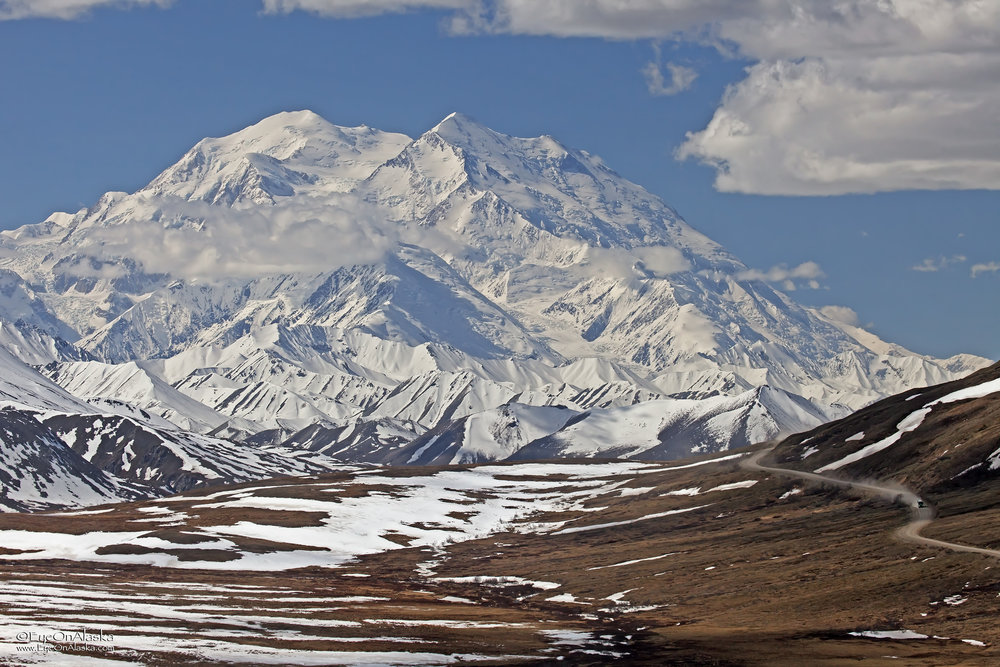 Denali completely out from the top of Stony Pass.
