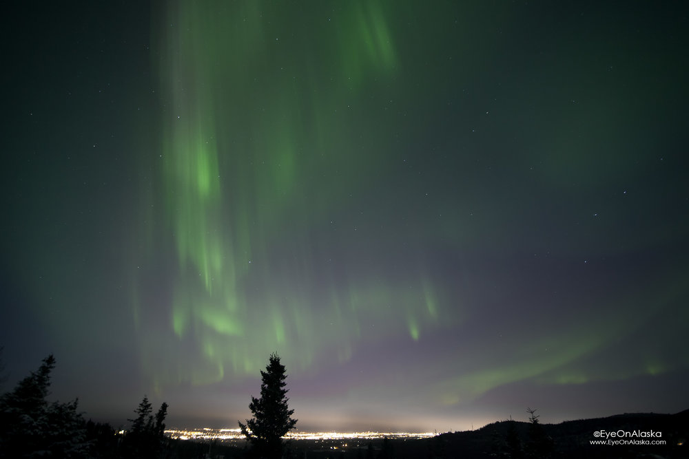 curtains of aurora over downtown Anchorage.