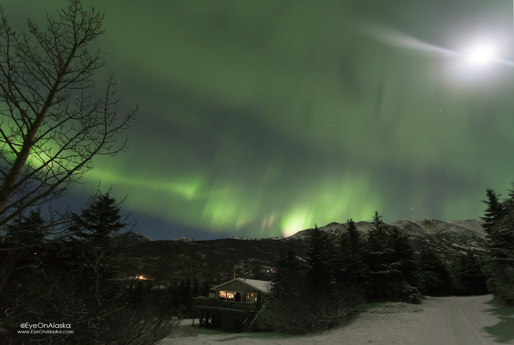 Our place bathed by the Aurora and Moon.