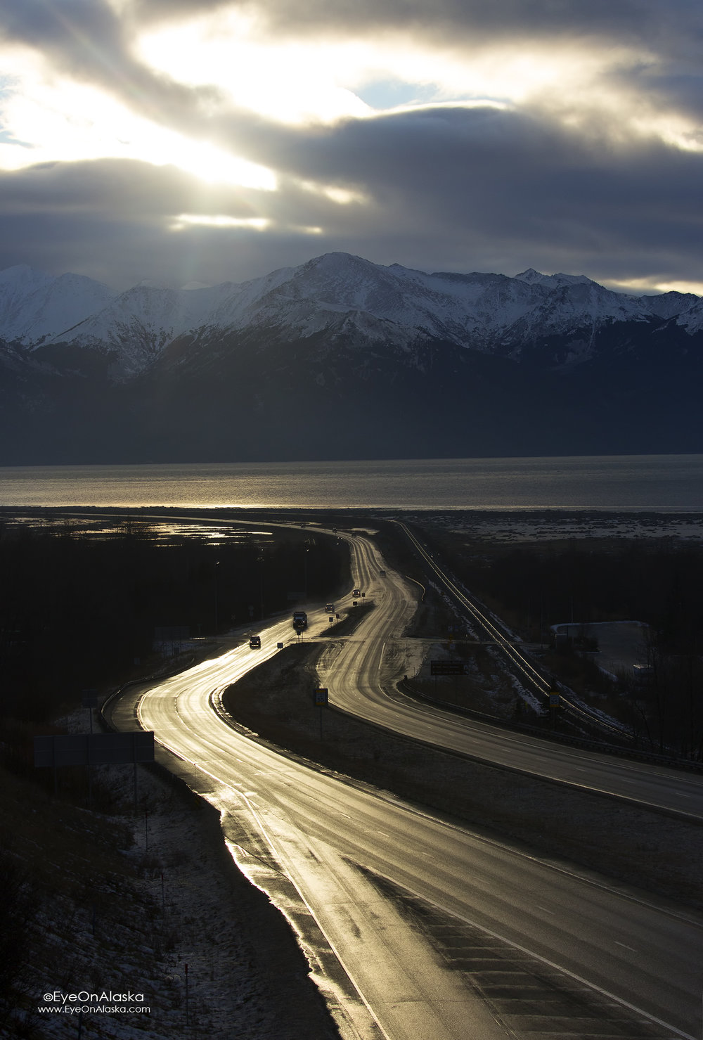 The Seward Highway dropping down to Potter Marsh.