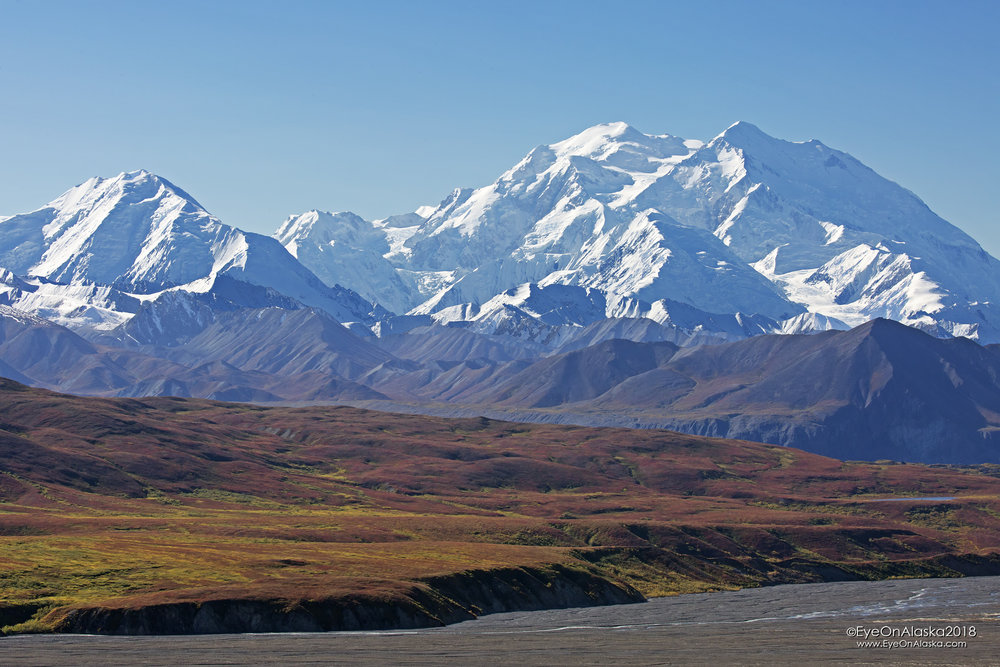 A wider shot of Denali and fall colors.  To give you a sense of just how big that mountain is, that's 33 miles away.