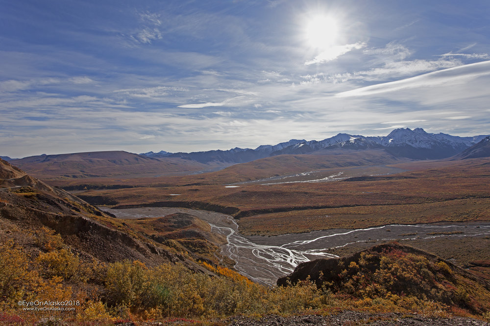 A wide-shot from the top of Polychrome Pass.
