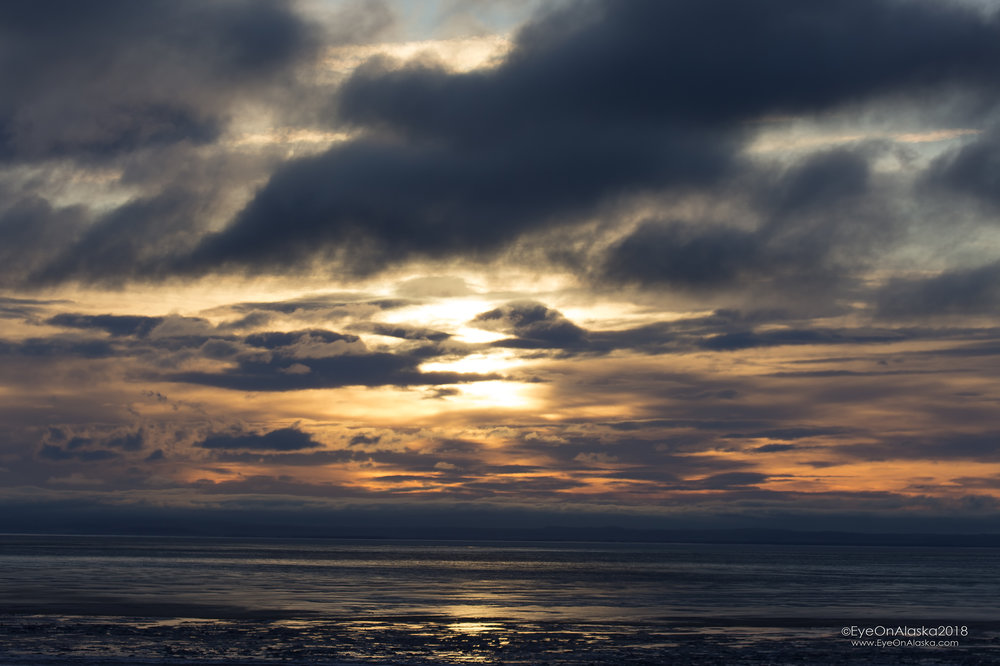 Sun going down over Cook Inlet at 3pm.
