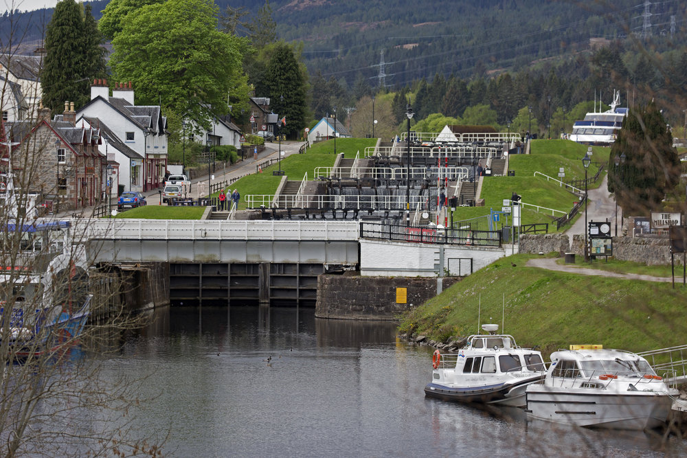 A better view of the steps.  You can see a big boat at the very top of the locks.  That's where we're headed.