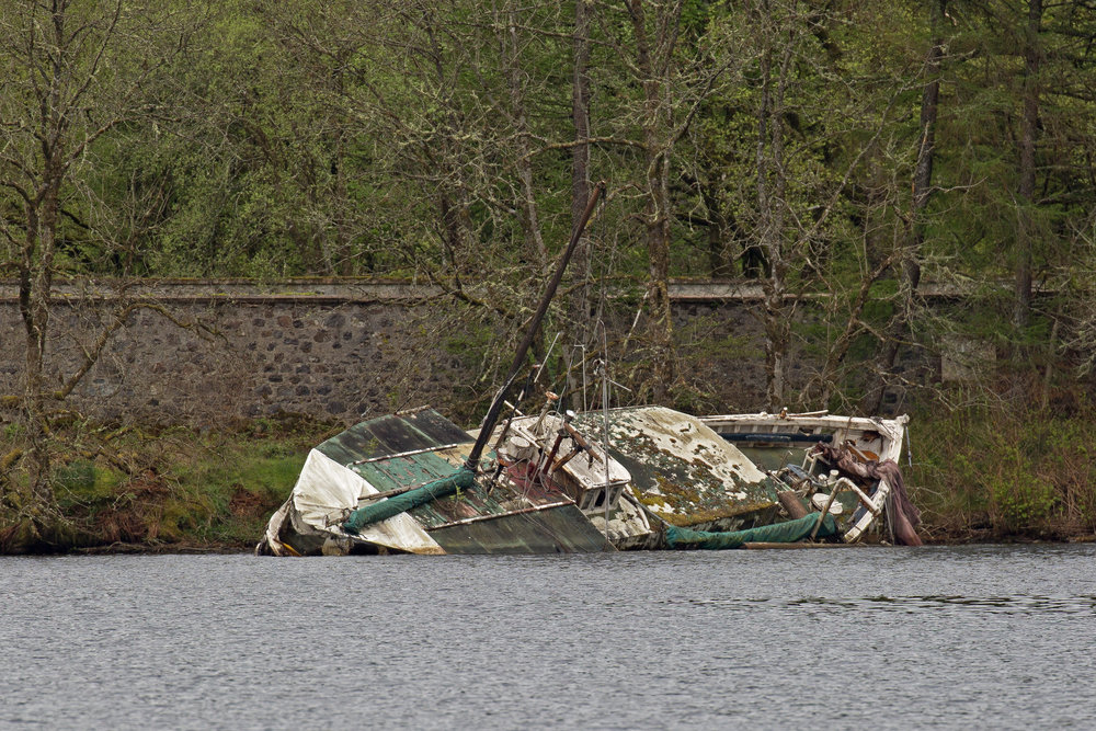 Wreck of an old fishing boat that's been grounded near the castle ruins for years.
