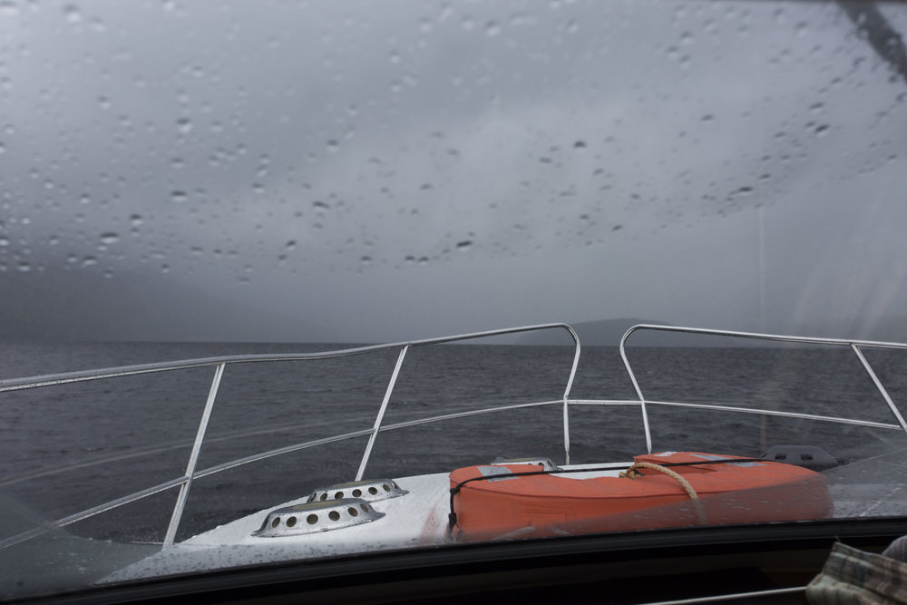 Weather turning a bit nasty at the end of Loch Ness and the narrow entrance to Loch Dochfour.  The rain didn't last long.