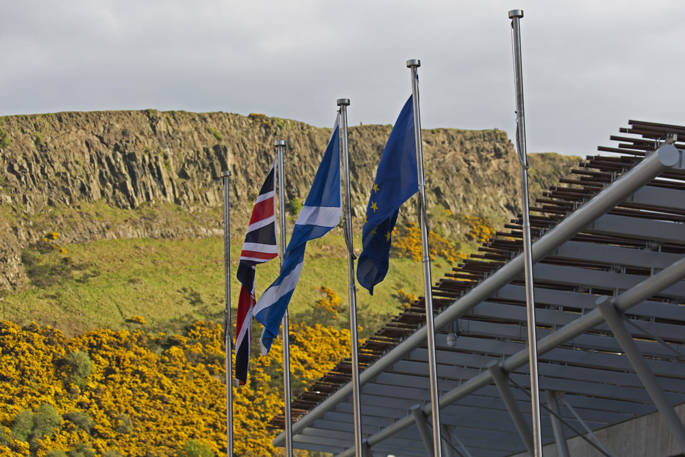 The cliffs of the Salisbury Crags above the Scottish Parliament building.