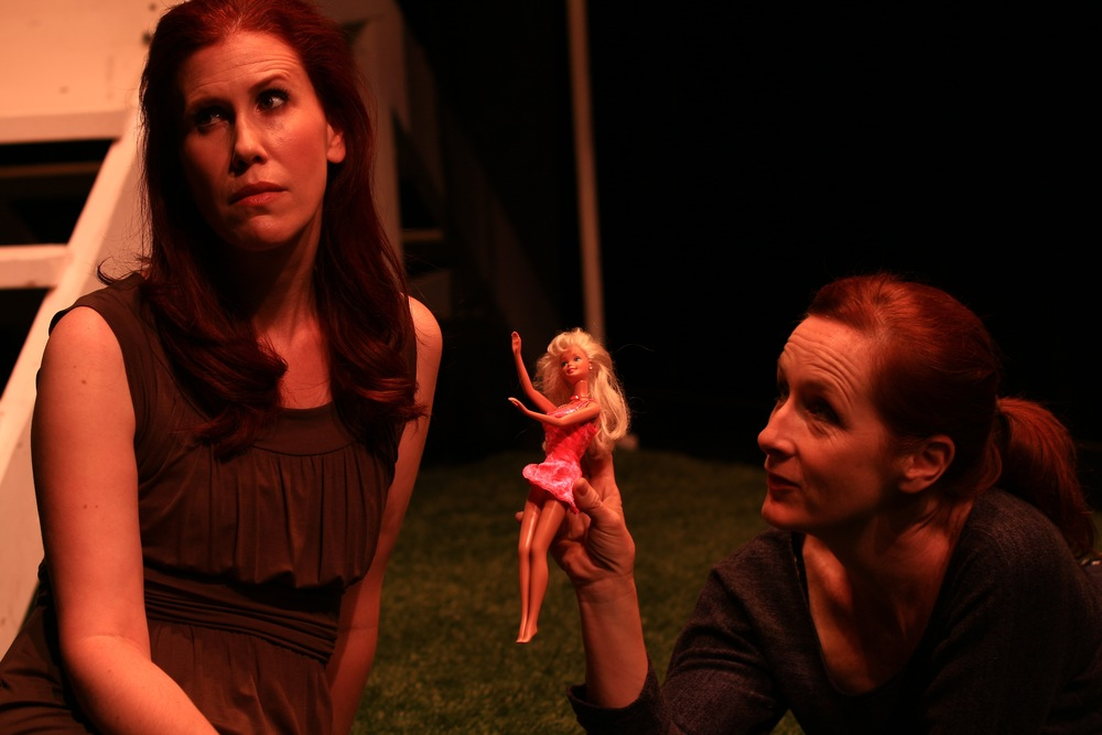 Emily Hurson and Mary Francis Moore in the mguffin company's production of The Thing Between Us
