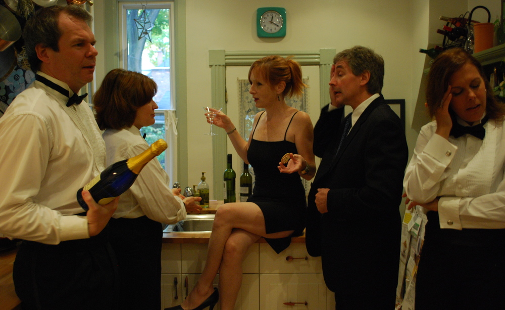 David Macniven, Alison Lawrence, Mary Francis Moore, Brian Young and Sharon Heldt in the mcguffin company's production of The Catering Queen