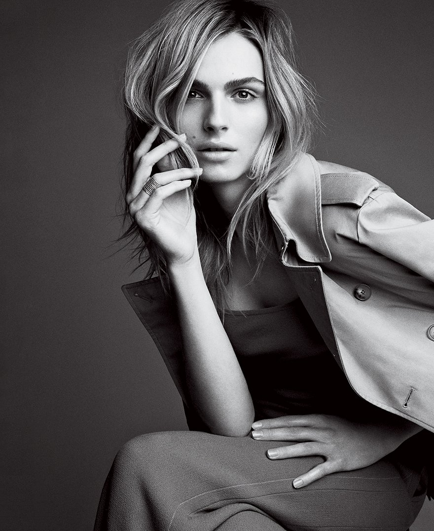 [Andreja Pejic. Photograph by Patrick Demarchelier, Vogue, May 2015.]