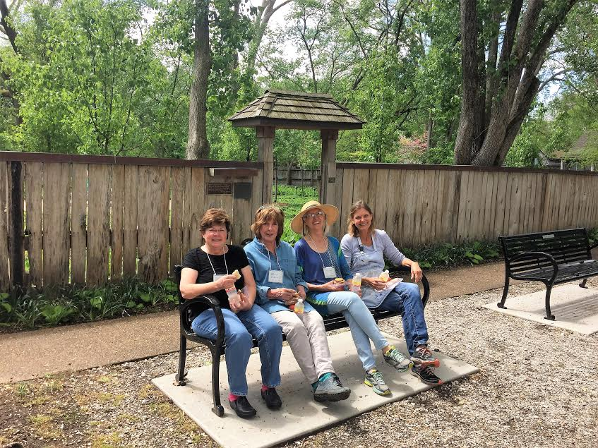 Marka Kroeger, Katie Lowing, Iris Gentry and Jan Frazier in New Harmony, Indiana