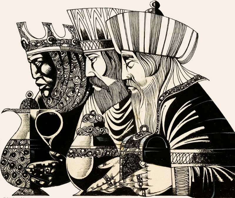 Three Kings Drawing by Richard Hook