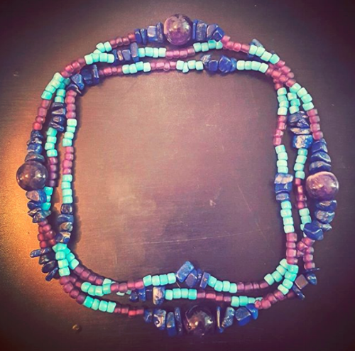 Jupiterian Circlet of Hismael , in lapis lazuli, amethyst, and glass.