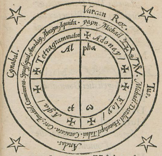 One of the treatises included in the Fourth Book is the infamous that manual of planetary angel magic the  Heptameron, which includes as especially unique system of working magic circles, such as this one above.