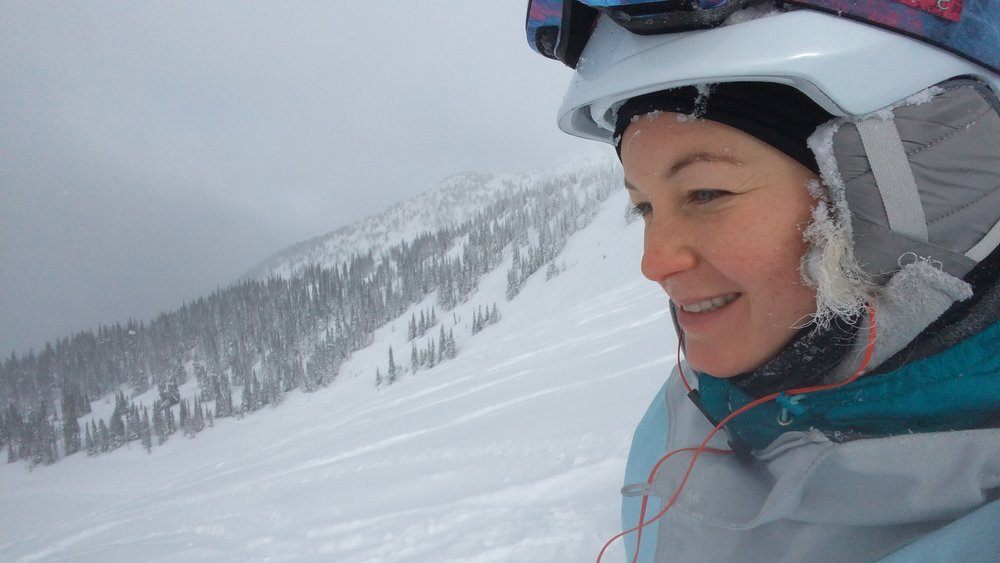 Assessing a fresh line on a perfect powder day on Whistler Mountain. Thrills!