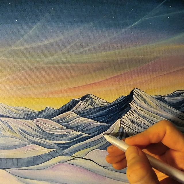 Snapshot of a little piece in progress. :) 10x14, acrylic on canvas, plus lots of fun. . . . #seatosky #whistler #blackcomb #artist  #whistlerblackcomb #landscapepainting #abstractlandscape #rainbow #color #art #mountainlife #mountainlove #mountainculture #onlyinwhistler #whistlerart #backcountry #workinprogress #penandpaint