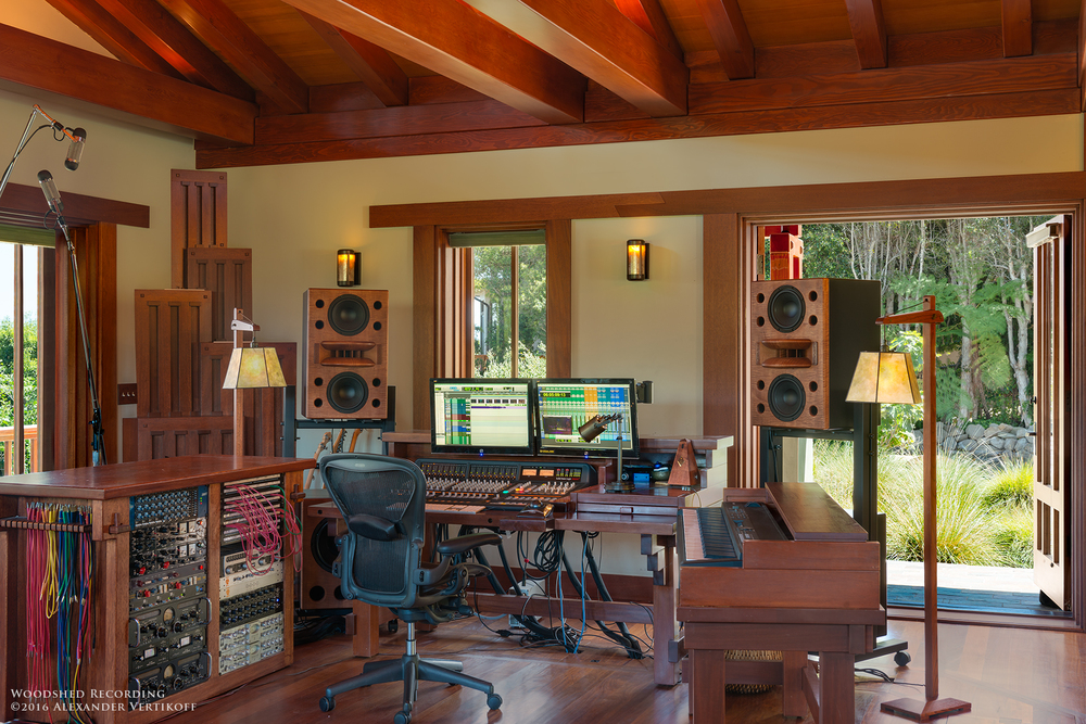 Custom Augspurger Speakers at Woodshed Recording Studio Malibu