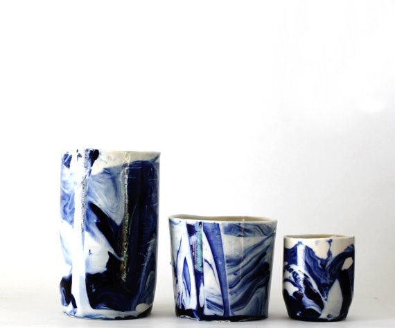 Handmade porcelain containers by  frabrique de Brunswick
