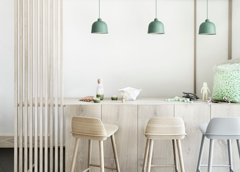 'Grain' Pendant by Muuto available through  Surrounding  works well in a cluster of 3 over a kitchen island bench, or a singular pendant in a powder room.