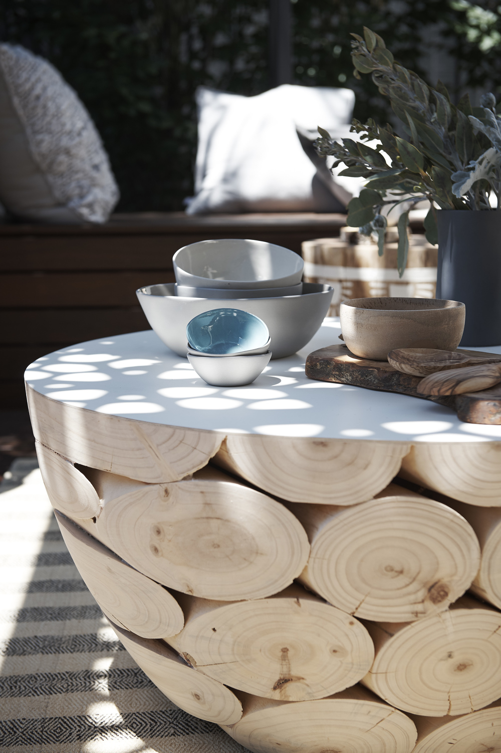 The  Mark Tuckey  coffee table was adorned with ceramics by  Marmouset Found  which complimented the raw and true trend perfectly.