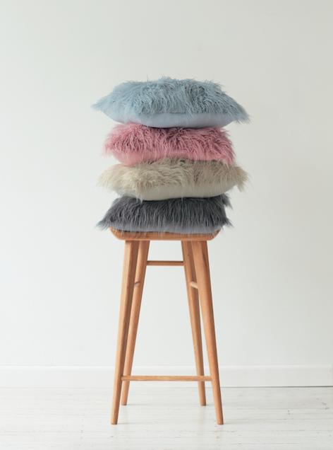 Faux fur cushions  by Lorraine Lea
