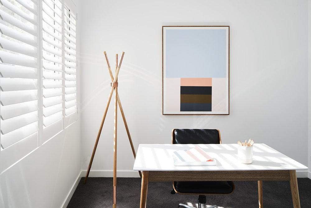 """Tee pee coat stand,  Scandiluxe . """"Minimal"""" artwork,  Louise de Weger ."""