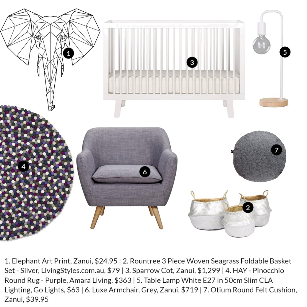 'Neutral Nursery' moodboard by Katy Thomas from  The Eye Spy Milk Bar