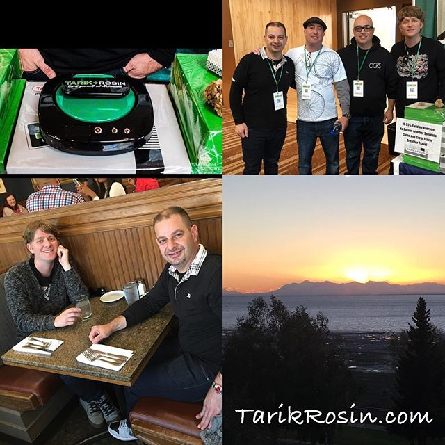 Happy Sunday!  Just getting in from #alaska from @_cannacon_ couple cool pics @theebubbakush and @therealogkushstory getting their #trex and eating @simonandseaforts what a great meal!! Thanks Alaska for your hospitality!! #ontheroad #420 #weed #weedstagram #weedstagram420 #solventless #rosin #rosintech #personalpress #rosinpress #headshop #dispensary
