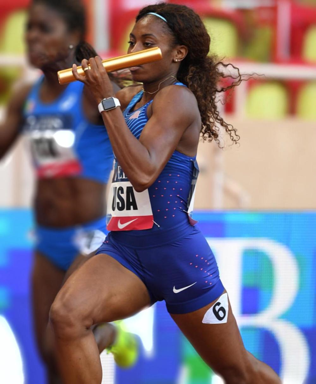 Jefferson participating in the 4x1 relay in Monaco in 2017. Photo credit: Diamond League Monaco .