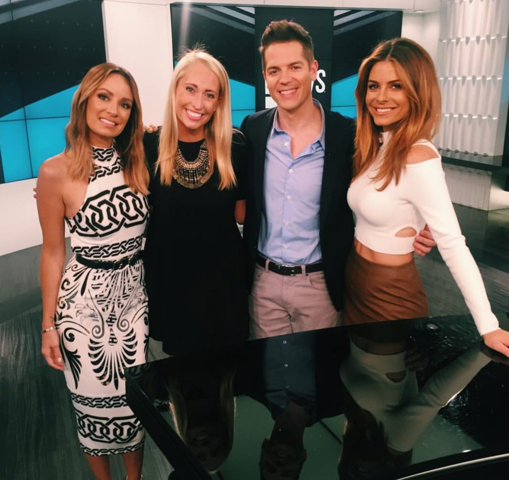 Tessa pictured with Jason Kennedy, Catt Sadler, and Maria Menounos at E! News. Photo Credit: @tessa_cevaal