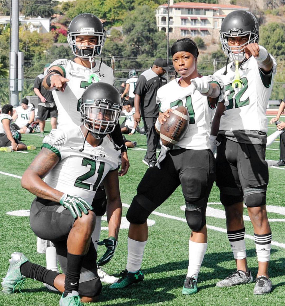 Toni pictured with ELAC teammates (from left to right) Chad Mac, Kevin Trejo, and Tyrus Douglas. Photo retrieved from Instagram via @_toniharris