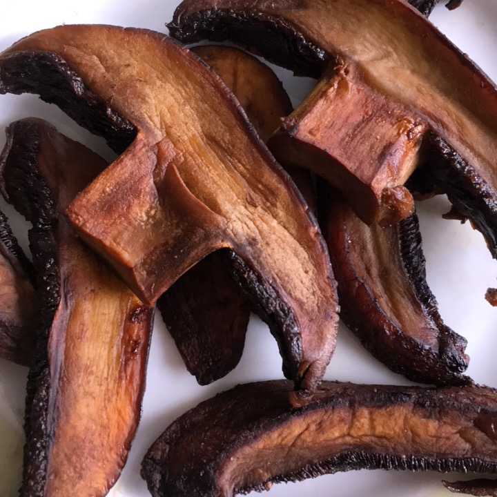 Portobello Mushroom Jerky ~ fry portobellos in sesame oil and add a pinch of salt. 👌🏻