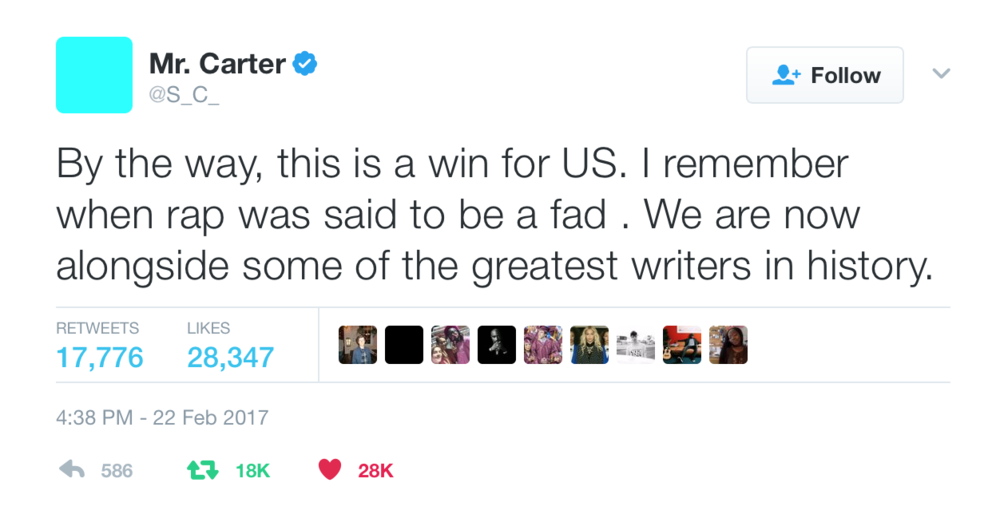 Jay Z's only tweet regarding the Songwriters Hall of Fame honor
