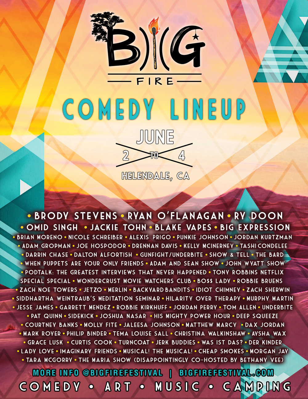 big fire comedy lineup