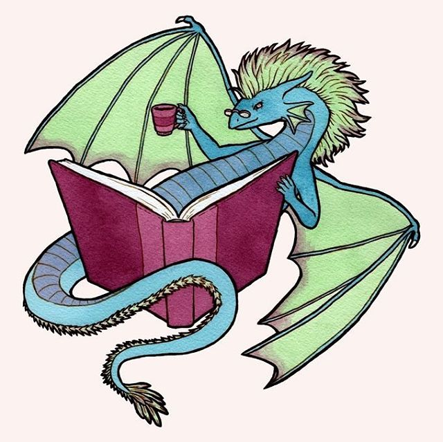 This BookWyrm loves to enjoy a hot drink while reading a book from their hoard. 💖💕I'm really excited to make stickers of this one! . . . #illustration #ink #lineart #watercolor #dragon #book #bookworm #wyrm #fantasyart #coffee #tea #reading #artistsoninstagram