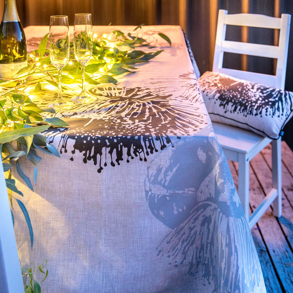 Charcoal Mallee Tablecloth & Cushion.jpg