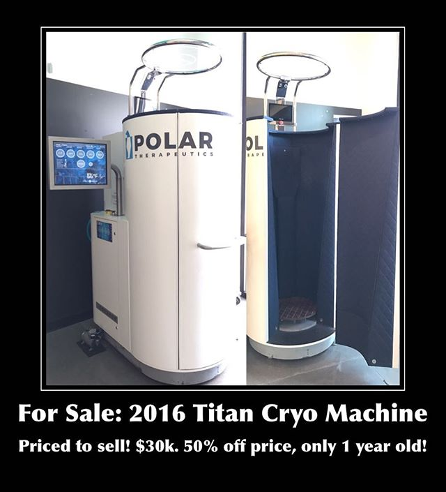 For sale: 2016 Titan Cryo Machine! DM us for more information. Priced to sell, great deal!! #cryotherapy #recovery