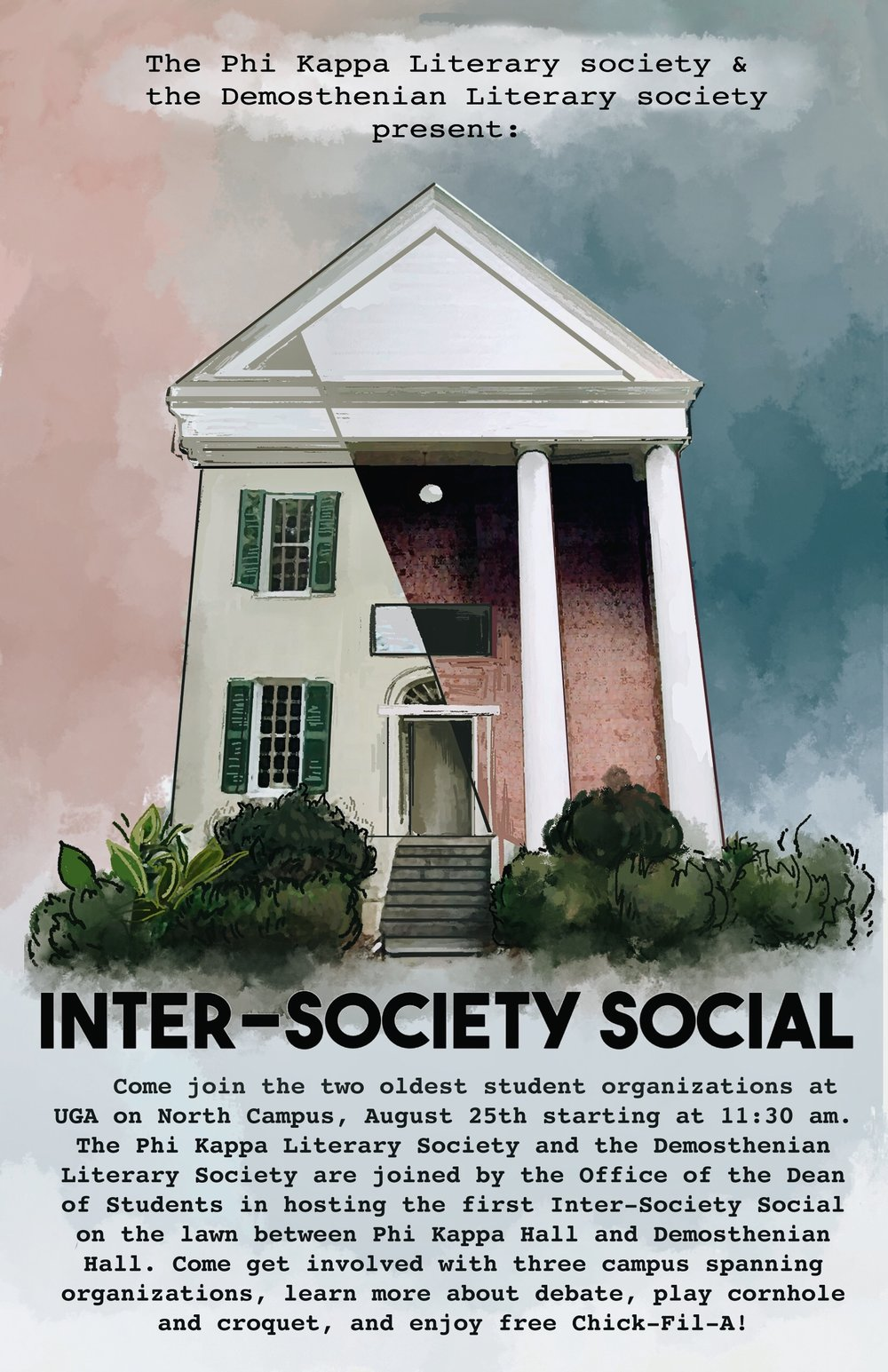 8.25.18 - join the Phi Kappa & Demosthenian Societies on the North Campus Quad for the first annual Intersociety Social!
