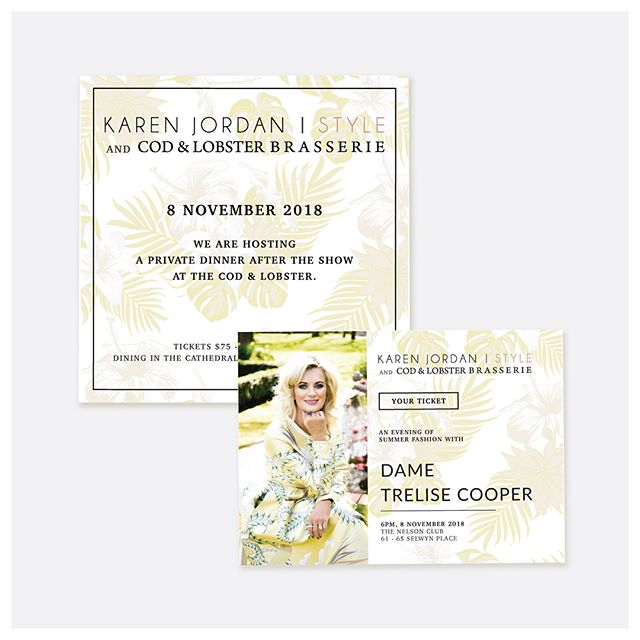 Earlier in the year the incredible Dame Trelise Cooper visited Nelson to show off her Summer '19 Collection thanks to @karenjordanstyle  I designed these invitations to reflect the beauty in both brands. Together they made an amazing night of fashion 💛 . #design #fashion #trelisecooper #nelson #graphicdesign #invitation #style #summerfashion #parade #floral