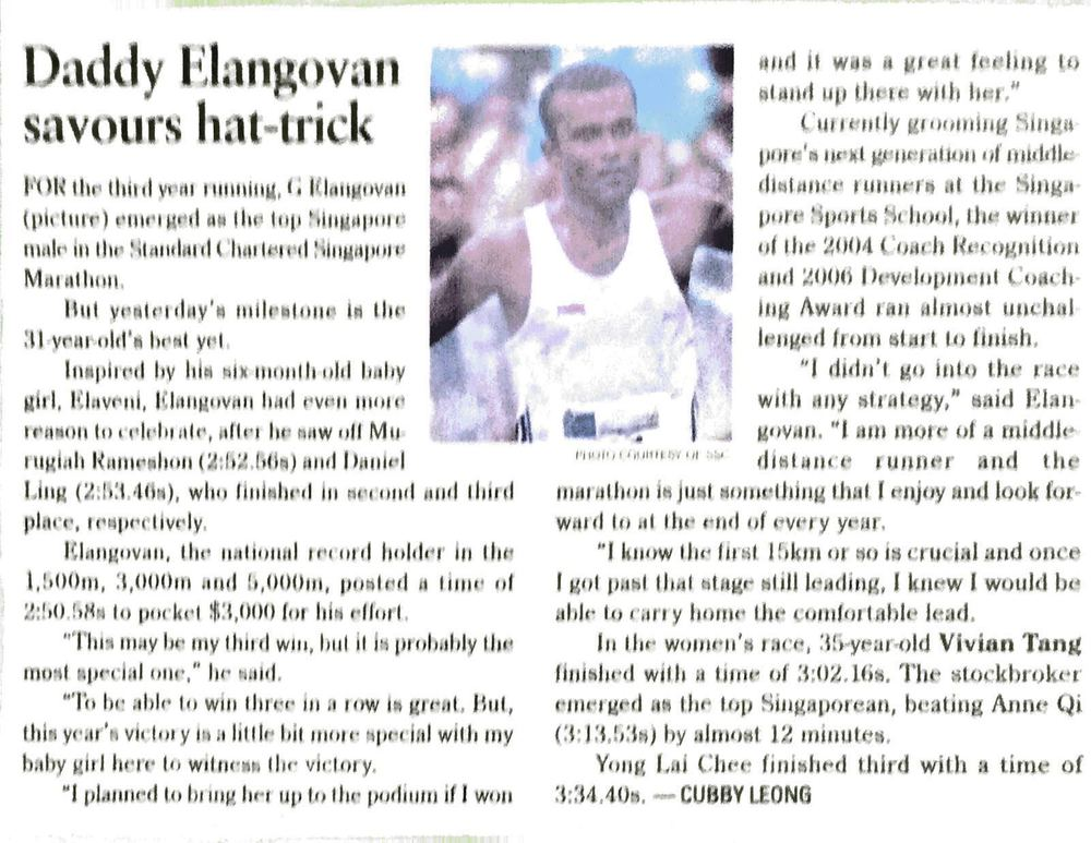1st Singaporean hat trick for singapore marathon close category