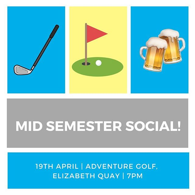 🏑⛳🍻 MID SEMESTER SOCIAL!!🍻⛳🏑 Grab your mentor group and come down to Ignite Mentoring's Mid Semester Social! This year we will be playing mini golf at Adventure Golf at Elizabeth Quay!  The $10 ticket gets you 18 holes of mini golf, pizza, BYO drinks and a great time!! See you all on Thursday the 19th of April at 7pm!! 🔥🔥 click the link in our bio to buy a ticket!!