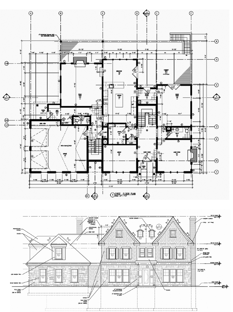 Working with SAS/Design, we designed detailed and built a 6,000 sf new home on a tough sloped site in Weston MA.