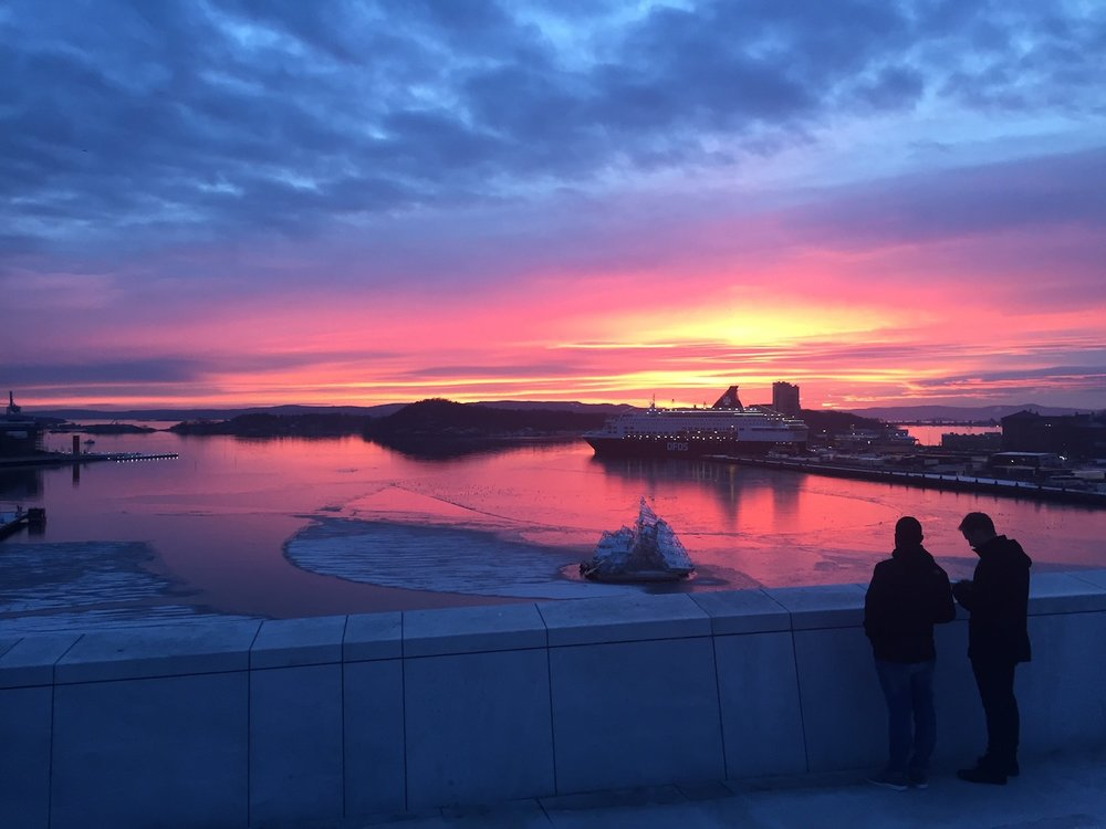 Sunset in Oslo, viewed from the top of the Opera